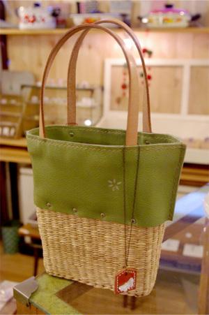 手縫いレザー カゴBAG : 5250 yen